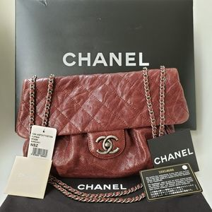 CHANEL Crumpled Calfskin Quilted Medium flap bag